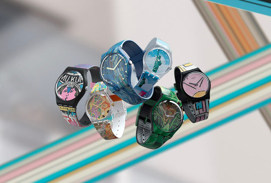 In 1983, SWATCH was officially launched on the market in Zurich. It was a watch of high precision and quality, waterproof and shockproof, at a very affordable price, made of plastic.